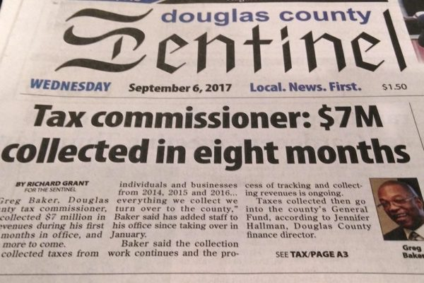 TAX CMOMISSIONER GREG BAKER IN THE  SENTINEL